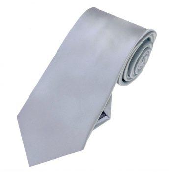 Mid Silver Grey Slim Tie